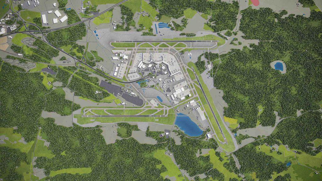 Karta över Arlanda flygplats med omnejd